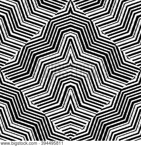 Geometric Striped Embroidery Vector Seamless Pattern. Grunge Abstract Background. Embroidered Lines,