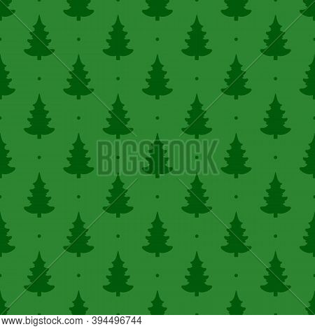 Seamless Vector. Fir-tree Background. New Year Wallpaper. Christmas Tree Motif. Pines Pattern. Holid