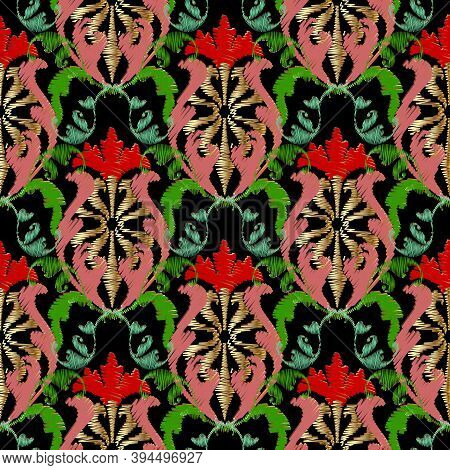 Embroidery Baroque Vector Seamless Pattern. Colorful Floral Grunge Background. Tapestry Wallpaper. B