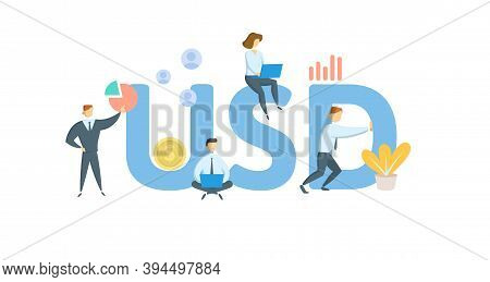 Usd, Us Dollar Currency Designation. Concept With Keywords, People And Icons. Flat Vector Illustrati