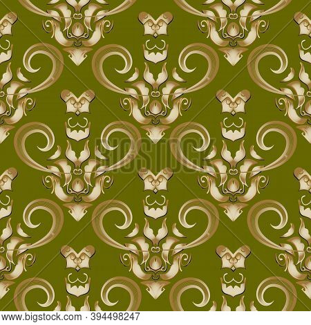 Damask Baroque Style Vector 3d Seamless Pattern. Green Vector Floral Background. Hand Drawn Gold Lin