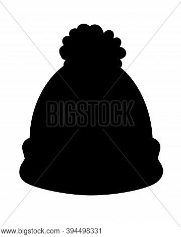 Winter Hat Black Vector Silhouette For Pictogram Or Logo. Knitted Hat With A Pompom - A Silhouette F