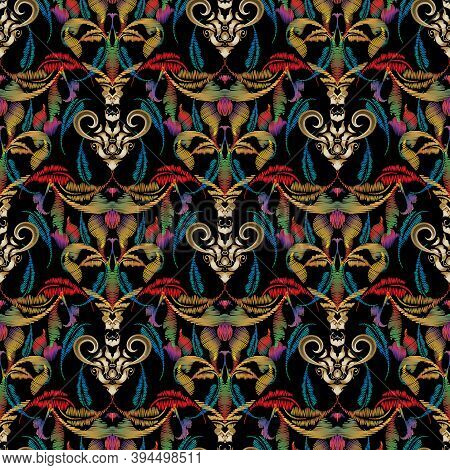 Embroidery Style Baroque Vector Seamless Pattern. Colorful Tapestry Floral Background, Wallpaper. Gr