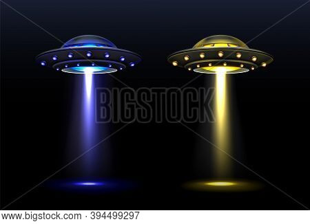 3d Ufo, Vector Alien Space Ships With Light Beam Of Blue And Yellow Colors. Saucers With Bright Illu