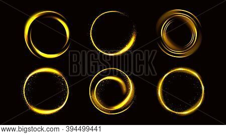 Gold Circles With Sparkles, Golden Round Frames, Shiny Borders With Glitter Or Fairy Dust, Glowing R