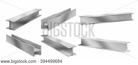 Metal Construction Beams, Steel Structure Girders. Vector Realistic Set Of Stainless Joist For Build