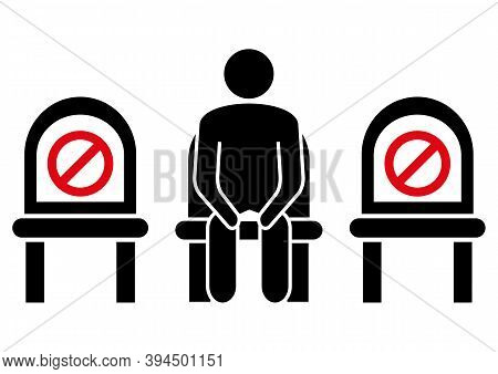 Do Not Sit Here. Keep Social Distance To Prevent Infection With The Coronavirus. Distancing Sitting.