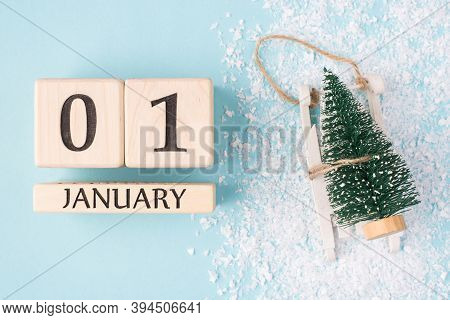 New Year Is Here Concept. Top Above Overhead View Photo Of Wooden Cubes Showing The First Day Of The