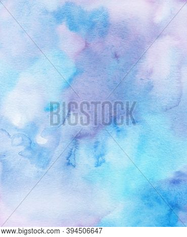 Watercolor Abstract  Background, Hand-painted Texture, Watercolor Purple And Blue Stains. Design For