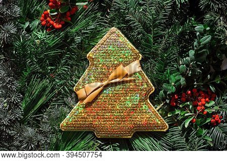 Christmas Time, Decorative Pine Branches, Creative Layout Made Of Christmas Tree Branches With Gift