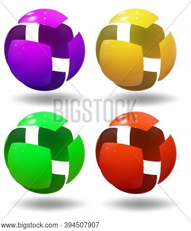 High Tech Sphere, Ball. Micro Robot Spherical Shape. Industrial Bubble. Vector