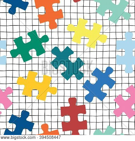 Puzzle Pieces Seamless Vector Background On A Grid. Repeating Pattern For Fabric, Kids Wear, Childre