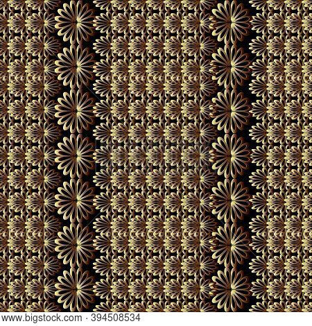 Abstract Floral Vector Seamless Pattern. Black Background With Tiled Surface 3d Flowers, Vertical Bo