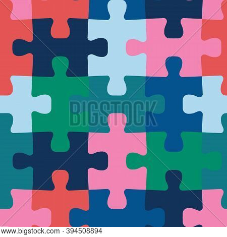 Puzzle Pieces Seamless Vector Background. Repeating Colorful Pattern For Fabric, Kids Wear, Children