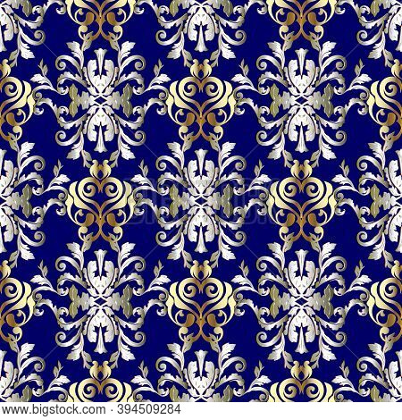 Baroque Vector Seamless Pattern. Blue Gold Silver Floral Background. Baroque Wallpaper. Surface Dama
