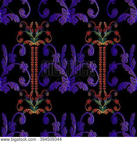 Striped Embroidery Baroque Seamless Pattern. Vintage Vector Background. Abstract Grunge Wallpaper. F
