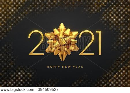 Happy New 2021 Year. Golden Metallic Luxury Numbers 2021 With Golden Gift Bow On Shimmering Backgrou