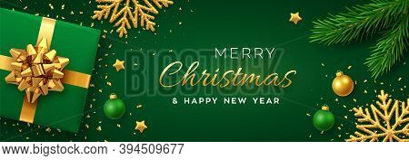 Christmas Background With Square Paper Banner, Realistic Green Gift Box With Golden Bow, Pine Branch