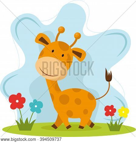 Happy Very Cute Baby Giraffe Vector Image For Your Design
