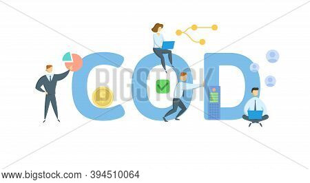 Cod, Commercial Operation Date. Concept With Keywords, People And Icons. Flat Vector Illustration. I