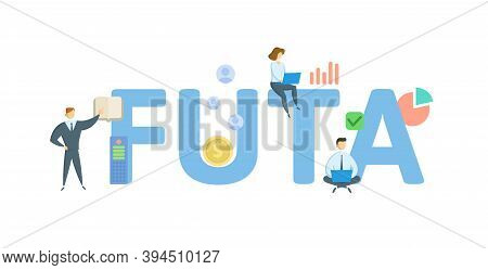 Futa, Federal Unemployment Tax Act. Concept With Keywords, People And Icons. Flat Vector Illustratio