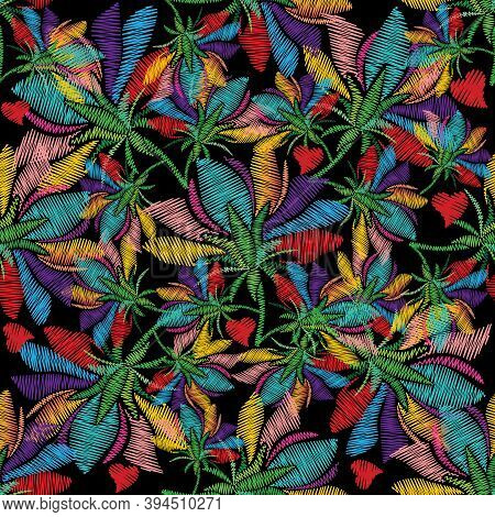 Colorful Floral Embroidery Seamless Pattern. Bright Vector Background With Multicolor Embroidered Ex