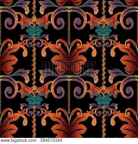 Striped Baroque Embroidery Seamless Pattern. Floral Tapestry Ornament. Vector Vintage Background Wal