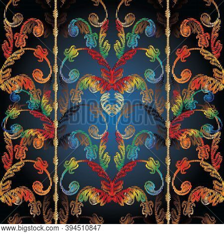 Striped Colorful Tapestry Baroque Seamless Pattern. Vector Embroidery Damask Flowers, Scroll Leaves,