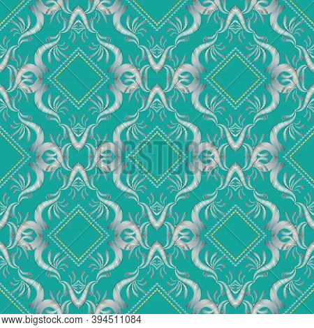 Embroidery Floral 3d Seamless Pattern. Damask Tapestry Blue Background Wallpaper. Embroidery White F