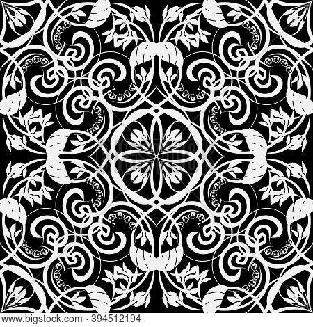 Black And White Vintage Damask Seamless Pattern. Vector Ornamental Monochrome Ornate Background. Ele