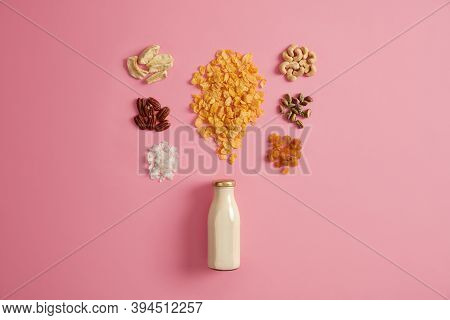 Healthy Breakfast, Dieting, Clean Eating Or Food Concept. Cereals And Other Nutrient Ingredients For