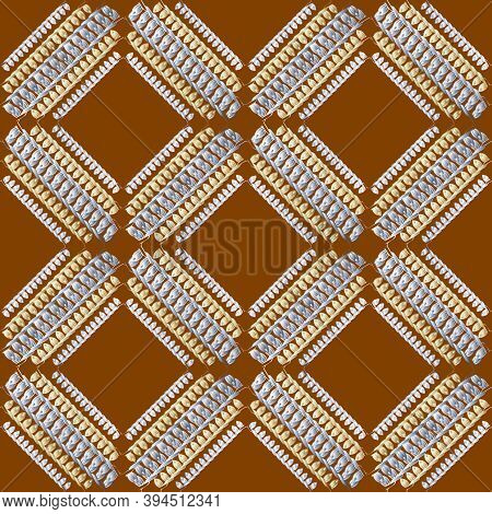 Grunge Embroidery Textured Stitch 3d Seamless Pattern. Geometric Ornamental Stitching Background. Ta