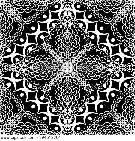 Black And White Lace Floral Vector Seamless Pattern. Monochrome Patterned Ethnic Style Background. R