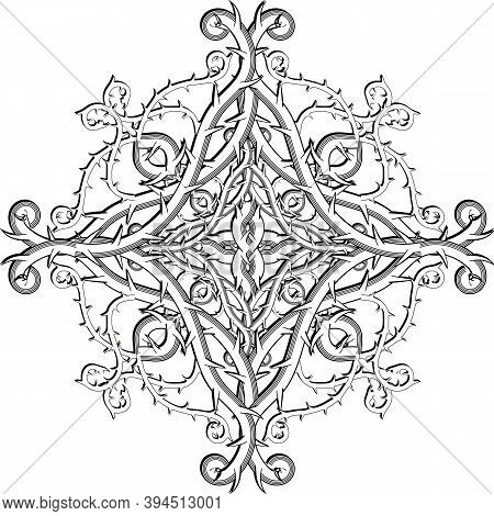 Celtic Style Floral Damask Black And White Vector Mandala Pattern. Elegance Ornamental Vintage White