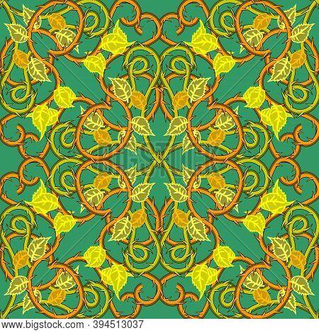 Arabesque Style Floral Damask Colorful Vector Seamless Pattern. Elegance Vintage Arabian Background.