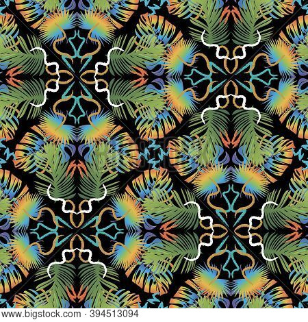 Colorful Abstract Tropical Palm Leaves Vector Seamless Pattern. Ornamental Tiled Floral Background.