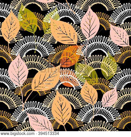 Autumn Leaves Lace Textured Vector Seamless Pattern. Ornamental Colorful Abstract Floral Ornament. M