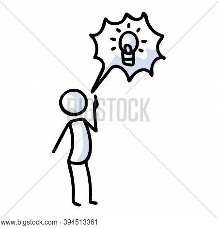 Hand Drawn Stickman With Speech Bubble Lightbulb Idea. Simple Outline Genius Thought Doodle Icon Cli