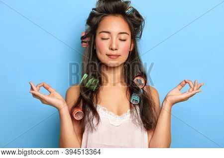 Relaxed Beautiful Young Woman With Mixed Race Appearance, Tries To Relax And Have Rest After Tired W