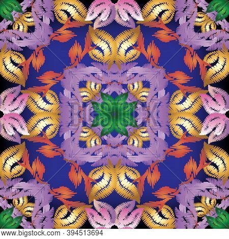 Embroidery Baroque Vector Seamless Pattern. Colorful Floral Grunge Background. Tapestry Wallpaper. M