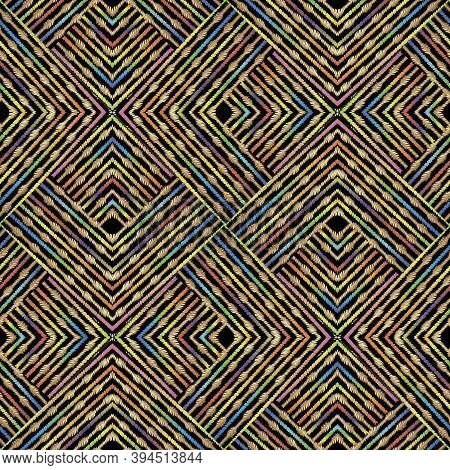 Textured Striped Zigzag Grunge Vector Seamless Pattern. Ornamental Geometric Embroidery Background.