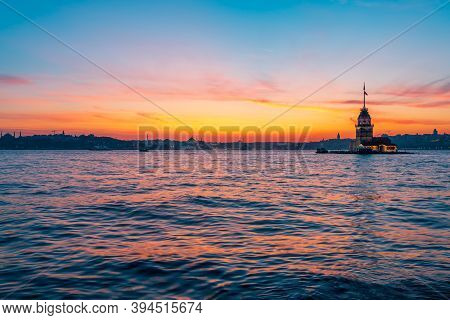 Maidens Tower And City Panorama At Sunset Time - Istanbul, Turkey