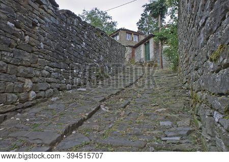 Tsepelovo Epirus, Old Stone Village Street View, Greece, Europe