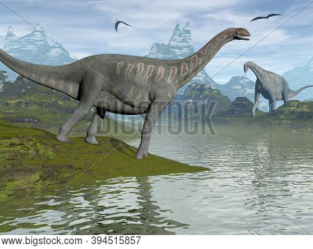 Jobaria Dinosaurs Walking In A Landscape By Day - 3d Render