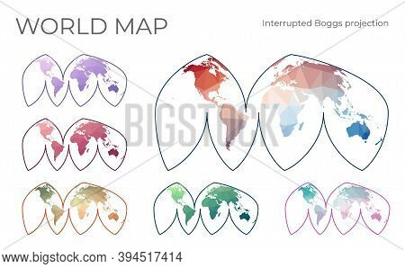 Low Poly World Map Set. Bogg's Interrupted Eumorphic Projection. Collection Of The World Maps In Geo