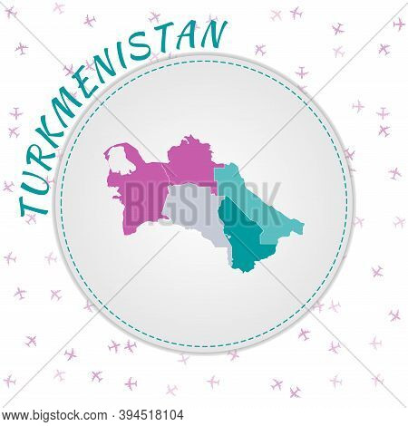 Turkmenistan Map Design. Map Of The Country With Regions In Emerald-amethyst Color Palette. Rounded