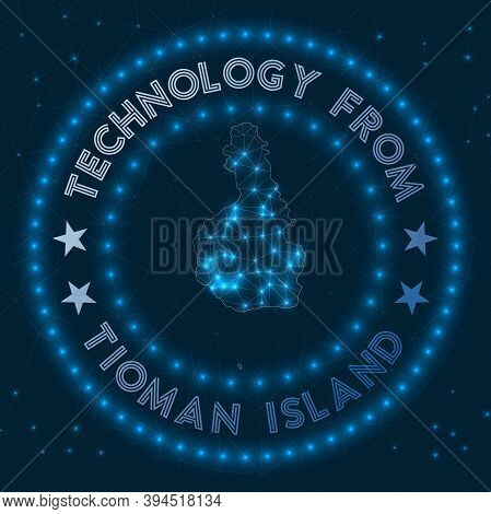 Technology From Tioman Island. Futuristic Geometric Badge Of The Island. Technological Concept. Roun