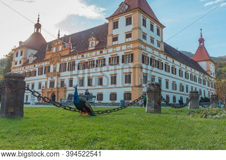 Graz, Austria-october 14, 2019: Peacock And Eggenberg Palace In The Background