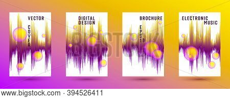 Music Covers Set With Sound Wave Background.  Abstract Pulse Amplitude.  Distorted Sound Wave Equali