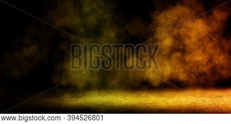 Empty Space Of Studio Dark Room With Golden Spot Lighting Effect And Fog Or Mist On Concrete Floor G